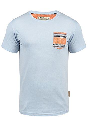 Indicode Paxton Herren T-Shirt Kurzarm Shirt Mit Rundhalsausschnitt Aus 100% Baumwolle, Größe:L, Farbe:Sky Way (403)