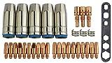 MIG/MAG Verschleißteile Set passend MB25 | 32 Teile | 5 x Gasdüse | 3 x Düsenstock | 10 x Stromdüse M6 0,8 mm | 10 x Stromdüse M6 1,0 mm | 3 x Haltefeder | 1 x Werkzeug | passend zu ML 2500, G25, SB 25, SB 250, TBI 250 und viele baugleiche mehr...