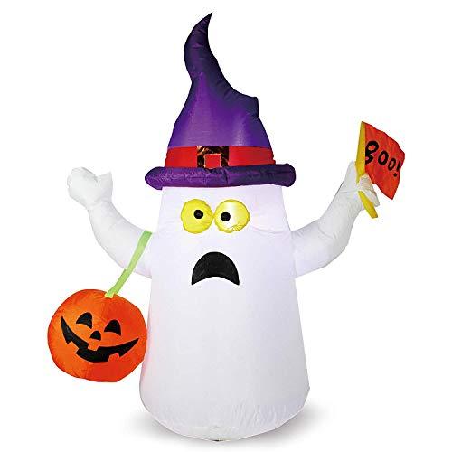SEDUM - Ghost Hinchable para Halloween, 5 FT con Bandera con Luces LED incorporadas, para Halloween, Fiestas, Interiores, Exteriores, Patios, jardín, decoración de césped
