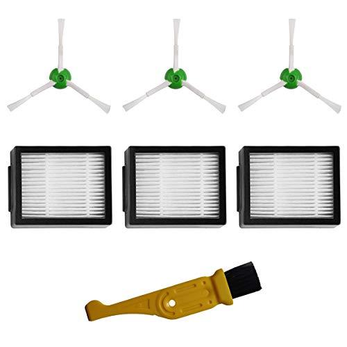 MIRTUX Kit di Accessori di Ricambio per Roomba E5 / i7. Set di ricambi di spazzole Laterali e filtri HEPA iRobot Roomba E5 E6 i7 i7+ Plus. Sostituzione di 3 spazzole e 3 filtri + detergente.