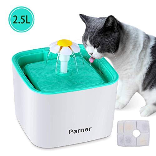 Parner Katzen Trinkbrunnen,Blumentrinkbrunnen Haustier Wasserbrunnen Pet Fountain 2.5 Liter mit 2 Karbonfilter Hunde Wasserspender Feeder Automatisch Wasserschale Leise Pumpe