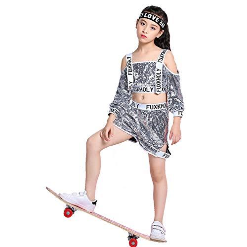 LOLANTA Mädchen Pailletten Jazz Dance Kostüm Kinder Hip Hop Dance Outfit Bühne ()