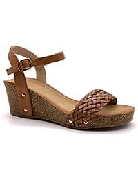 41cf69e0cf0 Angkorly - Zapatillas Moda Sandalias Mules Plataforma práctico cómodo  comode Mujer Trenzado Tachonado Corcho Plataforma 6