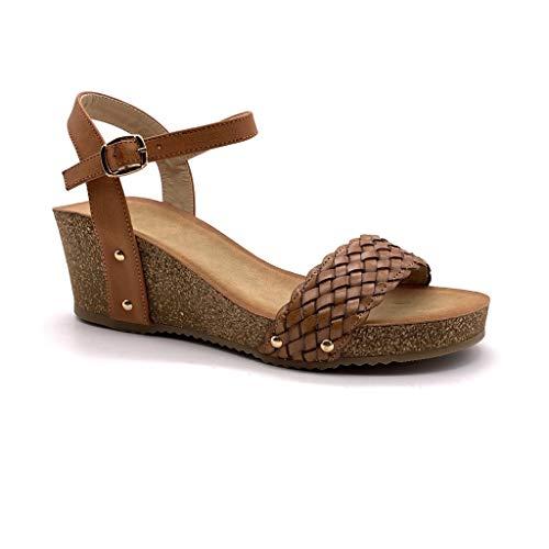 Camel High Heels (Angkorly - Damen Schuhe Sandalen Mule - Plateauschuhe - praktisch handlich - Bequeme - Geflochten - Nieten-Besetzt - Kork Keilabsatz high Heel 6 cm - Camel FD-42 T 41)