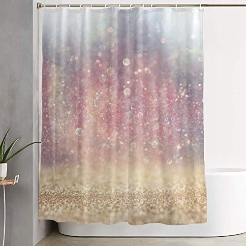 Fine Light Pink Glitter (GUUi Shower Curtain Waterproof Washable Bath Curtain,Blurred Abstract Photo of Light Burst Among Trees and Glitter Bokeh,for Bathroom with 12 Hooks)