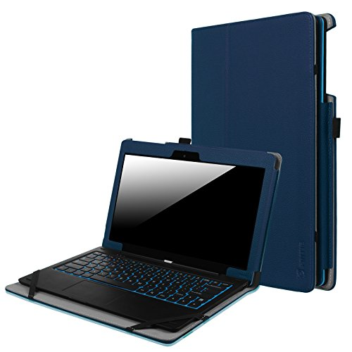 Fintie Odys Winpad 12 Hülle Case - Slim Fit Folio Premium Kunstleder Tastatur Ständer Schutzhülle Cover Tasche für Odys Winpad 12 / Odys Evolution 12 - 2in1 11,6 Zoll (29,5 cm) Convertible Tablet-PC, Marineblau
