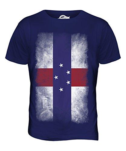 CandyMix Niederländische Antillen Verblichen Flagge Herren T Shirt Navy Blau