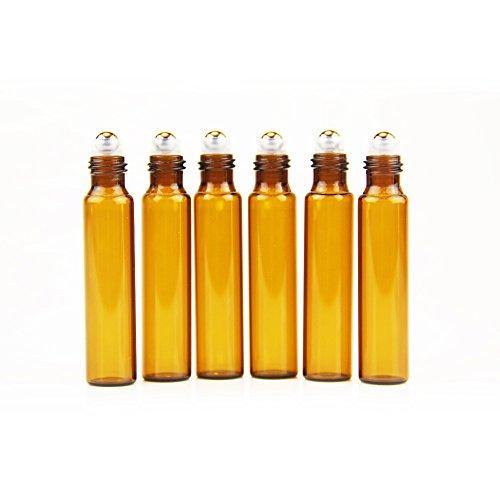 One Trillion 6 Pcs Bottiglie vetro ambrato da 10ml con sfere acciaio inossidabile per olio essenziale2 Altri contagocce includono.