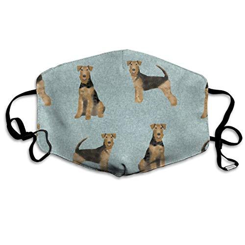 Airedale Terrier Hundedecke B Steppdecke für Hunde, Anti-Staub-Maske, Anti-Verschmutzung, waschbar, wiederverwendbare Mundmasken