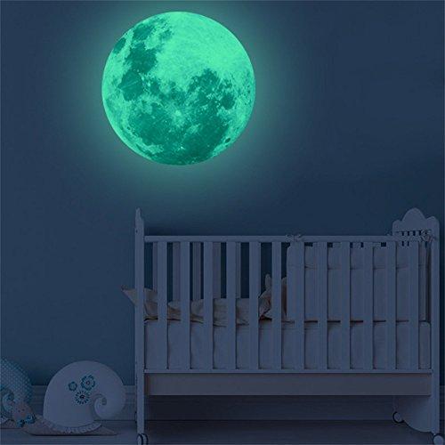 Zegeey 40cm 3D großer Mond Fluoreszierende Wandaufkleber abnehmbare im Dunkeln leuchten Aufkleber Wohnkultur -