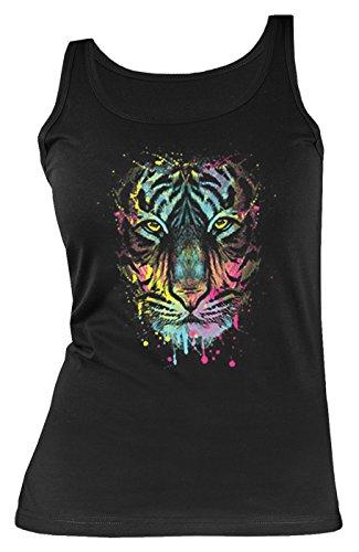 Wildkatzen-Neon/Damen/Girlie-Träger-Shirt/ Tank-Top mit Neon - Motiv: Dripping Tiger - schönes Geschenk - Tiger Damen Tank Top