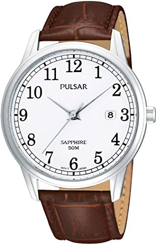 Pulsar Uhren PS9055X1 - Reloj analógico para caballero de cuero blanco