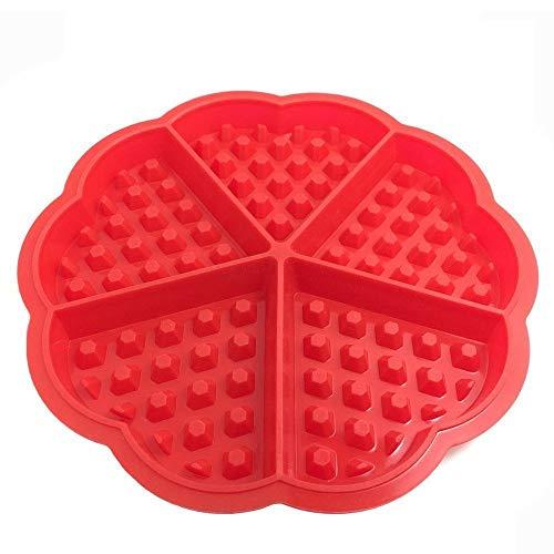 7-almond in Herzform Silikon Waffel/Flower Heart Form Muffin Form Kuchen Bakeware Backen Werkzeuge, kariert rot (Pack von 2)