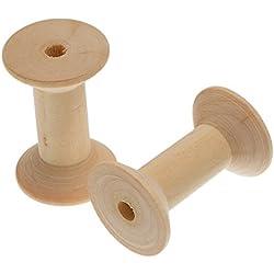 bryocy (TM) nueva 10pcs vacío de madera bobina de bobinas para hilo alambre Natural color Needlework 47mmx31mm