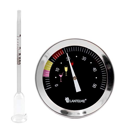 Lantelme Weinthermometer und Glas Vinometer Set Wein Temperatur und Alkoholmesser Thermometer Edelstahl 6411