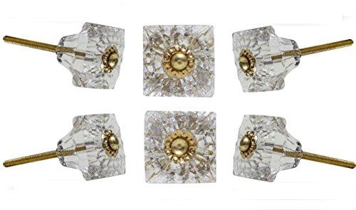 Set of 6 Door Knobs Mammounia Glass Clear Wardrobe Cabinet Drawer Knobs by Trinca-Ferro - Transparent Glass Knob