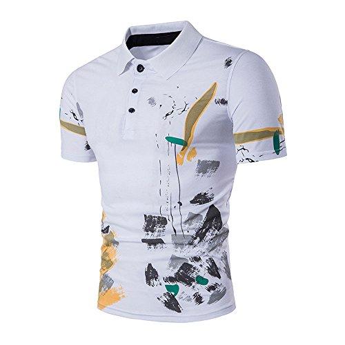 Beikoard Camicia da Uomo Slim Fit Elegante T-Shirt a Manica Corta da Uomo - S/M/L/XL/XXL B64 Camicia da Uomo a Righe(Bianco,XXL)