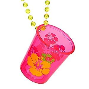 WIDMANN 09162 Neon - Collar de cristal de chupito con flor de hibisco unisex - adultos, rosa neón, talla única