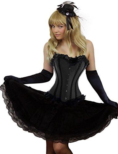 Yummy Bee - Burlesque Korsett mit Lange Spitzen Kostüm Damen Größe 34 - 52 ( 48-50, (Burlesque Outfit)