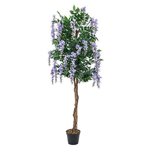 artplants – Künstlicher Goldregenbaum, 1370 Blätter, Echtstamm, 820 Blüten, lila, 150 cm – Kunststoff Baum blühend/Deko Blumen