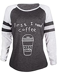 9560dd1049b0 FNKDOR Damen Langarm Shirts Tops Sweatshirt - First I Need Coffee