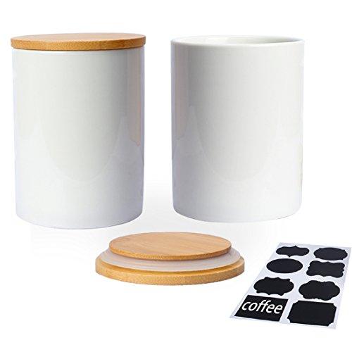 Fecihor Vorratsdosen set von 2 Keramik Dose mit Deckel Weiß Tee und Zucker Vorratsdose Luftdicht Kaffeebohnen Behälter Küche Gewürze Groß mit Schwarzem Etikett (Tee-set Schwarz Und Weiß)