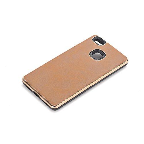 elecfan Ultra Slim Hülle für Huawei P9 Lite Geometrisch Slim Fit Dual Layer Drop Protection Burgund Modern Grip für Huawei P9 Lite Cover (Huawei P9 Lite, Hellbraun)