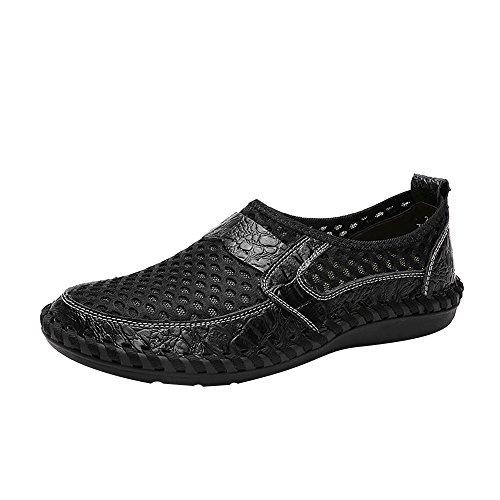 iHENGH Shoes Men Outdoor Fashion Pelle Sneakers Scarpe Uomo Pantofola Pu Running Sport Scarpa da Ginnastica Scarpe Uomo Moda Casual Estate (Nero,44)