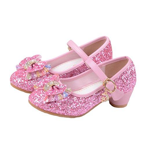 Partei Absatz-Schuhe Sandalette Stöckelschuhe für Kinder(Size 29 EU) Rosa (Prinzessin Schuhe)