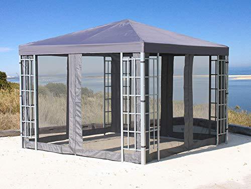 Quick-Star Rank Pavillon Set 3x3m Metall Garten Partyzelt Anthrazit mit 4 Seitenteilen mit...