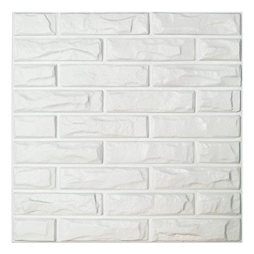 Art3d PVC 3D Wand Paneele Weiß Brick Wand Fliesen, 50x 50cm (12Stück) (Brick-wand-fliesen)