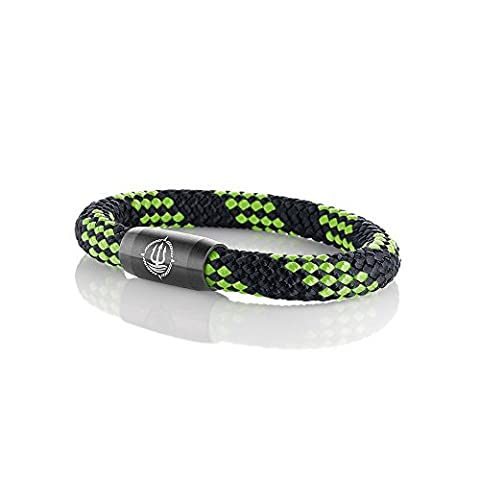 Männer Armband aus echtem Segeltau geflochten 8 mm schwarz-grün mit coolem Magnetverschluss aus Edelstahl. 21 cm lang
