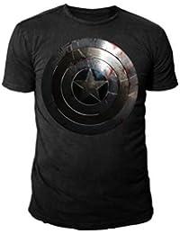 Marvel Comics - Captain America Herren T-Shirt - The Winter Soldier - Shield Logo (schwarz) (S-XXL)