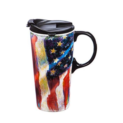 Cypress Home OLD GLORY American Flagge unterwegs aus Keramik Kaffee Becher mit Geschenk-Box, 17Unzen -