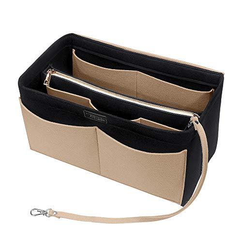 Ropch Handtaschen Organizer, Filz Taschenorganizer Bag in Bag Innentaschen Handtaschenordner mit Abnehmbare Reißverschluss-Tasche und Schlüsselkette, Schwarz und Beige - L