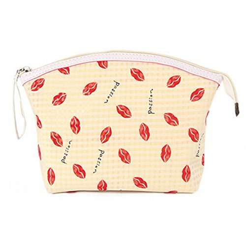 Portable Maquillage Voyage Cosmetic Bag Pouches Lip Prints,Jaune