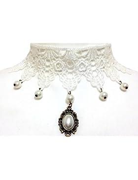 Gothic Halskette in Makramee weiß mit Perlen und Diadem