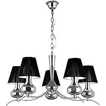 Premier Housewares - Lámpara de techo (con casquillo pequeño E14 Edison, 60 W, 5 brazos, cromo), color negro