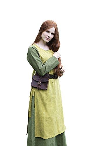Mittelalter Überkleid Damen safrangelb mit seitlichen Schnürungen ärmellos Baumwolle - L