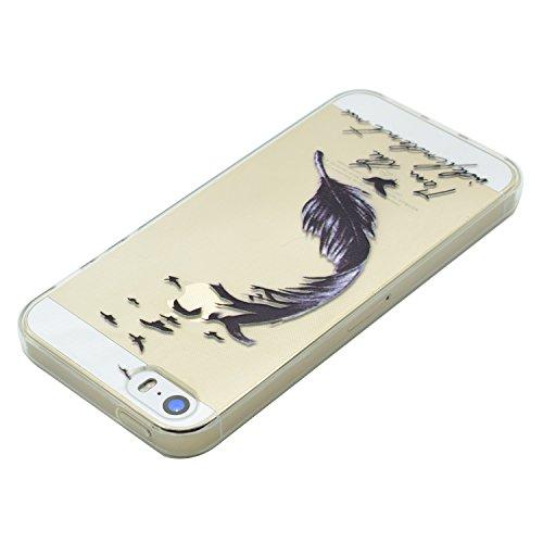 iPhone 5 Hülle, E-Lush Beliebte Lotus Muster für Apple iPhone 5 5S SE Telefonkasten TPU Silikon Rand Acryl Rückseite Abdeckung Handyhülle Clear Transparent Schutzhülle Weiche Flexibel Handytasche Durc Schwarz Feder
