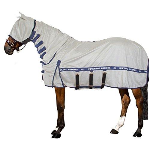 Imperial Riding - UV/Fly blanket - Fliegendecke mit UV-Schutz, Hals, Maske und Bauchlatz - Silver Grey Navy - 205