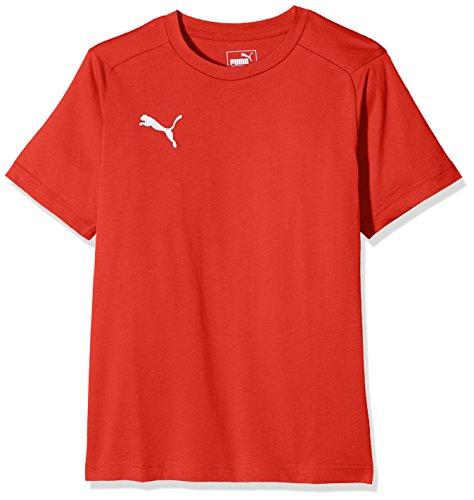puma liga casuals tee jr, maglietta unisex bambino, rosso red white, 164