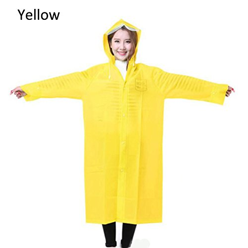 Zhuhaixmy UltraLight Unisex Waterproof Poncho Lange Ärmel Coat Hooded Regenjacke Yellow