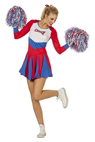 Karneval-Klamotten Cheerleader Kostüm Damen sexy rot-weiß-blau Kleid Langarm Karneval Fasching Größe 46