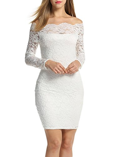 Acevog Vestido largos mujer otoño invierno Vestido de manga larga Blanco, L