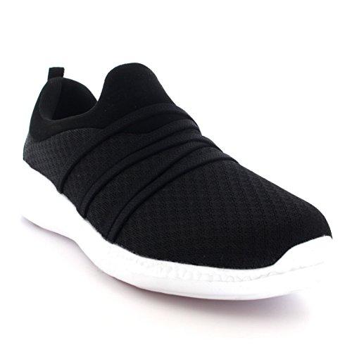 Femmes Poids Léger Engrener En Marchant Confortable Rembourré Chaussures Formateurs Noir/Blanc