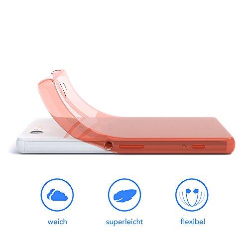 """EAZY CASE Handyhülle für Sony Xperia Z3 Compact Hülle - Premium Handy Schutzhülle Slimcover """"Clear"""" hochwertig und kratzfest - Transparentes Silikon Backcover in Klar / Durchsichtig Clear Orange"""