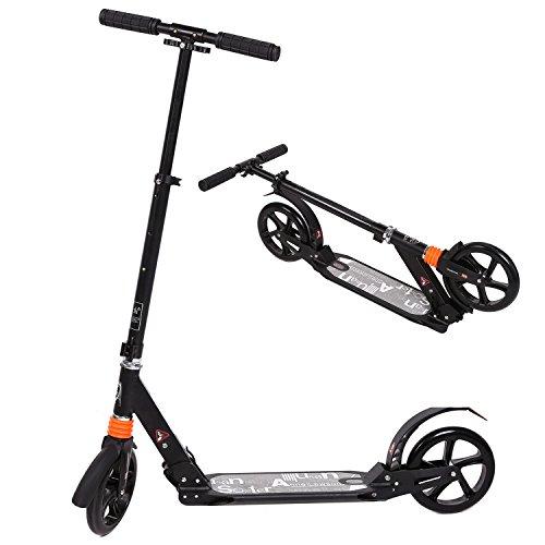 WeSkate Cityroller Tretroller für Erwachsene, große Räder 205mm Klappbarer City Roller Scooter Tret-Roller mit Doppel Federung für Erwachsene, Jugendliche und Kinder ab 13 Jahre bis 100kg , Schwarz