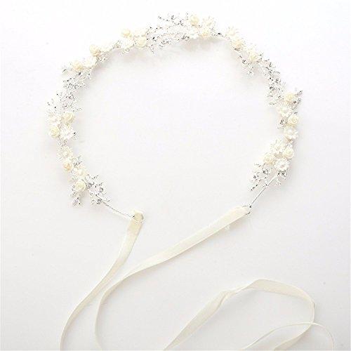 Weddwith Kopfschmuck Weißer Strass Blumen Braut Haarband einfaches Haar-Band Braut Brautjungfer...