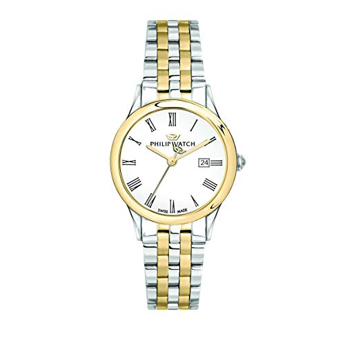 Philip Watch Women's Watch, Marilyn Collection, Quartz Movement and Three Hands Version with Date, Equipped with a Stainless Steel and Yellow Gold Bracelet - R8253211503